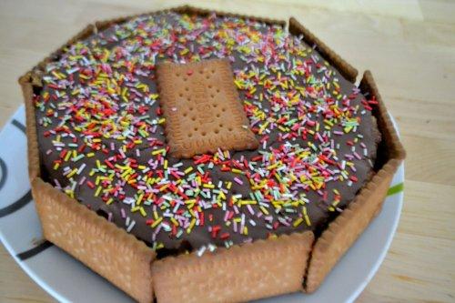 Tarta de galletas y flan